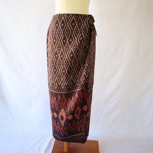 NWT 90's Tribal Print Silk Linen Sarong Wrap Skirt